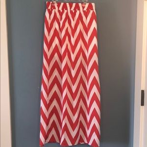 Everly | Red chevron maxi skirt | S
